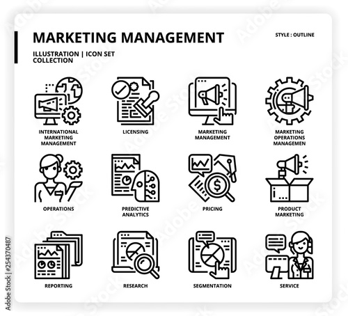 Marketing Management icon set Wallpaper Mural