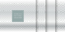 Geometric Seamless Silver Pattern Background. Simple Vector Graphic Gray Print. Repeating Line Abstract Texture Set. Minimalistic Shapes. Stylish Trellis Square Metal Grid. Geometry Web Page Fill.