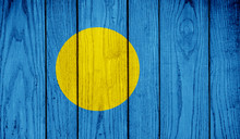 Flag Of Palau On Wooden Background