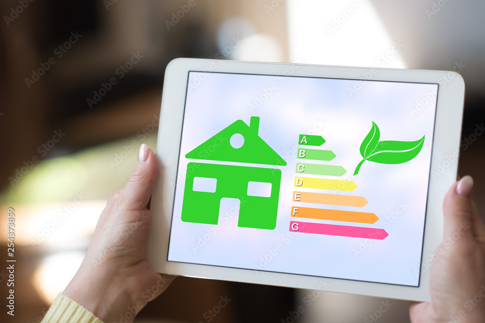 Fototapeta Home energy efficiency concept on a tablet