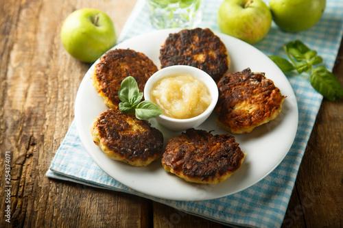 Potato pancakes with apple sauce Wallpaper Mural