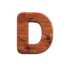 Wood Letter D - Capital 3d Wooden Plank Font - Suitable For Nature, Ecology Or Decoration Related Subjects