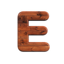 Wood Letter E - Capital 3d Woo...