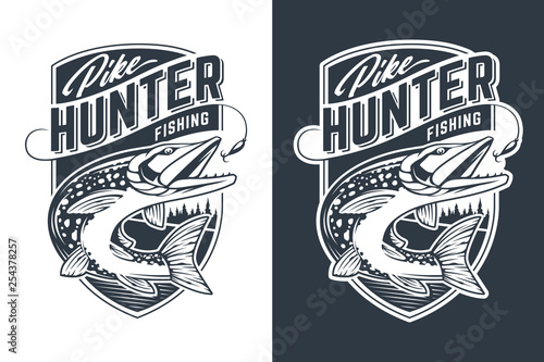 Fotografie, Obraz  Pike Hunter Vector Emblem Design