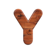 Wood Letter Y - Capital 3d Wooden Plank Font - Suitable For Nature, Ecology Or Decoration Related Subjects