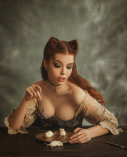 Charming Redhead Lady With Cat...