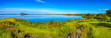 Panoramic View Of Lake Myvatn Near Reykjahlid On Iceland At Sunny Day And Blue Sky, Summer Time