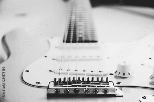 Details and connection of guitar bridge and strings. Canvas Print