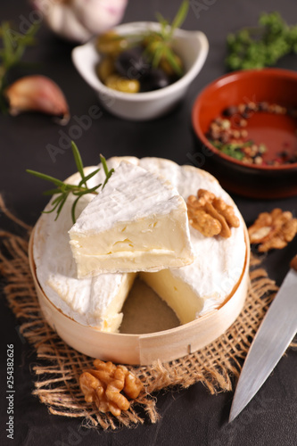 camembert with olive and walnut