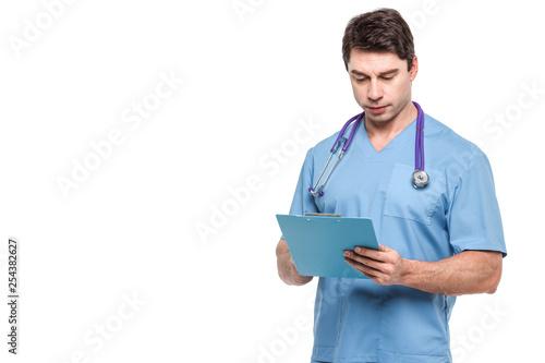 Lekarz na białym tle.