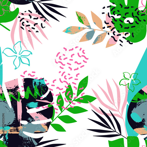 Floral seamless pattern of tropical leaves with memphis