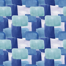 Blue Vector Pattern, Watercolor Strokes And Spots, Seamless Watercolor Pattern