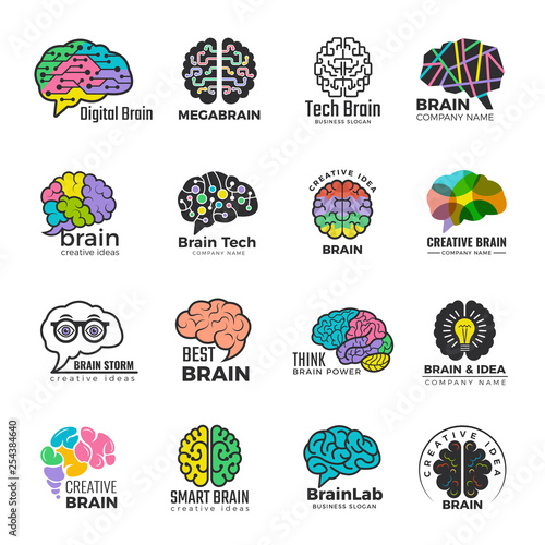 Brain logotypes  Business concept of colored smart mind