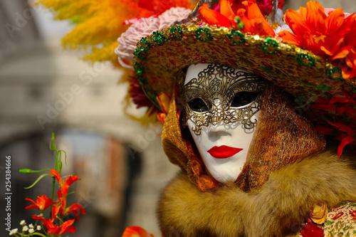Foto op Plexiglas Europa Venice carnival, portrait of mask