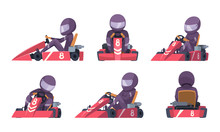 Karting Car. Street Speed Racers Competition Sport Automobile Go Kart Vector Background Cartoon. Illustration Of Speed Car, Race Drive, Sport Kart Racer