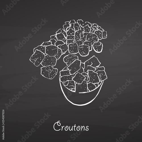 Fotografía  Croutons food sketch on chalkboard