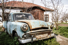 Old Abandoned Retro Car In The...