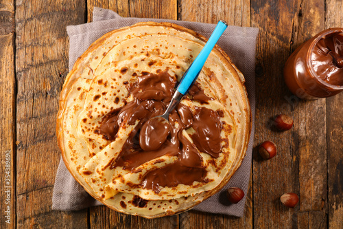 pancakes crepes with chocolate
