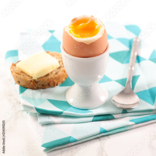 soft boiled egg, toast with butter