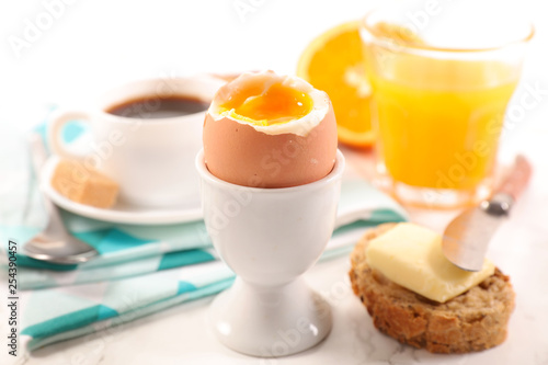 breakfast with egg, coffee and orange juice