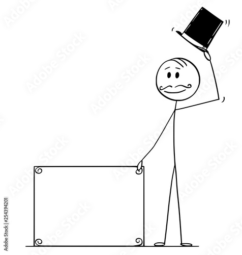 Photo Cartoon stick figure drawing conceptual illustration of greeting gentleman, man or businessman with retro top hat, mustache holding empty sign for your text