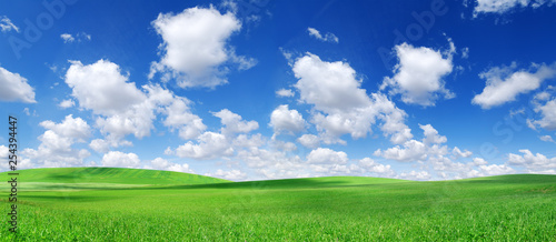 Fototapeta Idyllic view, green hills and blue sky with white clouds obraz