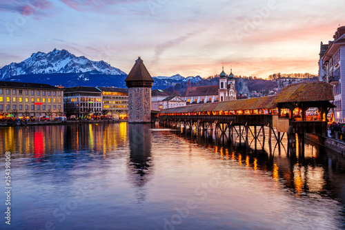 Fotografie, Obraz Lucerne, Switzerland, historical Old town on dramatical sunset