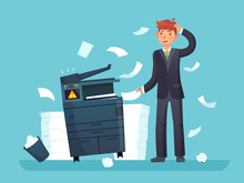 Printer Broken. Confused Business Worker Broke Copier, Office Copy Machine And Lot Of Paper Documents Cartoon Vector Illustration