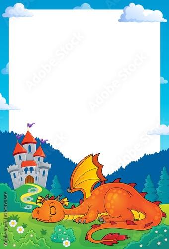 Foto op Aluminium Voor kinderen Sleeping dragon theme frame 1