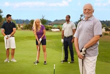 Portrait Of Active Senior On The Golf Course