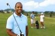 Closeup portrait of handsome black golfer