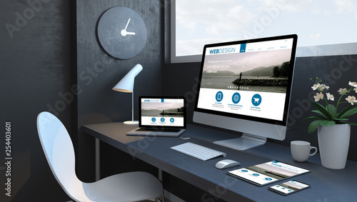 Fényképezés  Navy blue workspace with responsive devices responsive design website