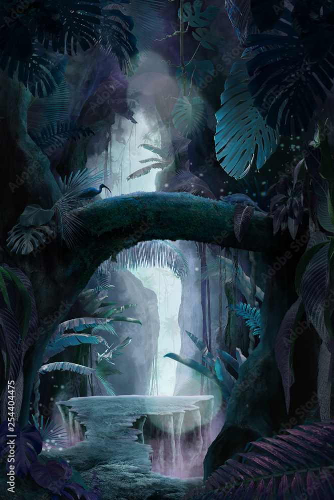 Fototapeta Inside a deep mystical jungle canyon at night, can be used as background, wallpaper