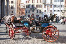 Roma, Italy - February 09, 2019 : Horses Carriage In Pantheon Square