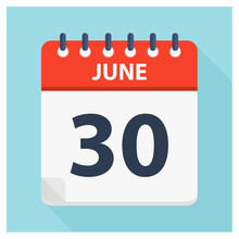 June 30 - Calendar Icon - Calendar Design Template