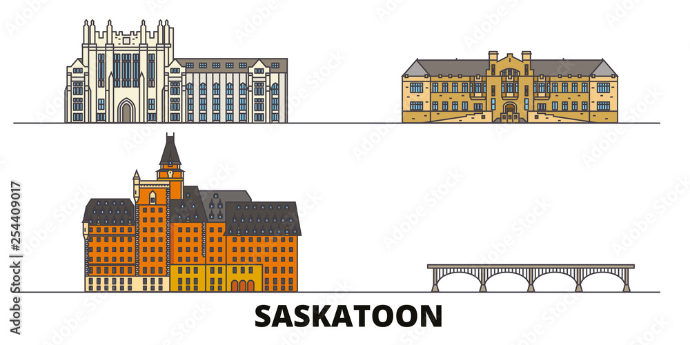 Fototapeta Canada, Saskatoon flat landmarks vector illustration. Canada, Saskatoon line city with famous travel sights, design skyline.