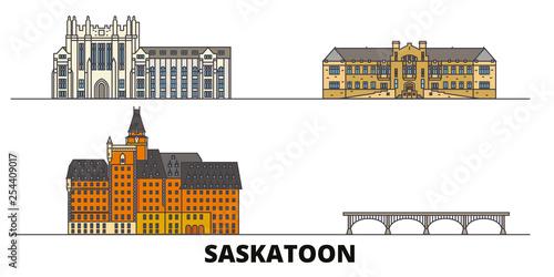 Fotomural Canada, Saskatoon flat landmarks vector illustration