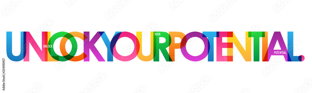 Fototapeta UNLOCK YOUR POTENTIAL. colorful typography banner