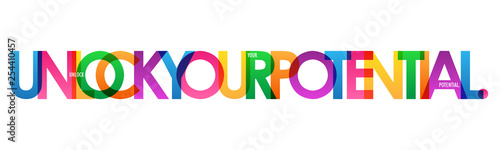 Pinturas sobre lienzo  UNLOCK YOUR POTENTIAL. colorful typography banner