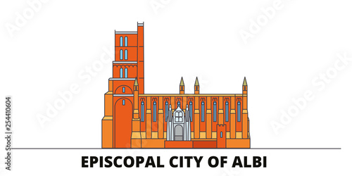Photo France, Albi flat landmarks vector illustration
