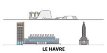 France, Le Havre Flat Landmarks Vector Illustration. France, Le Havre Line City With Famous Travel Sights, Design Skyline.