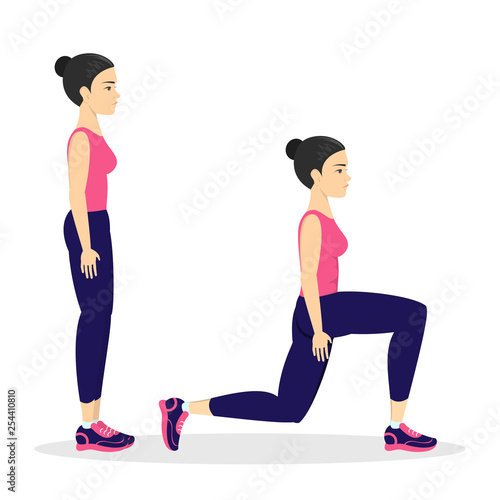 Photo Woman making lunges. Doing sport exercises in gym