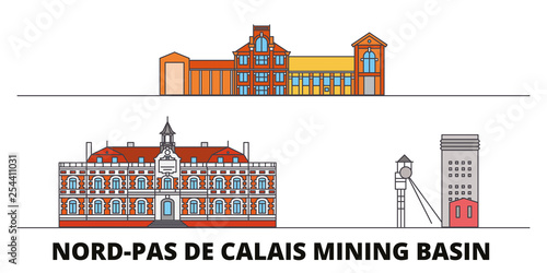 Canvas Print France, Nord Pas De Calais Mining Basin  flat landmarks vector illustration