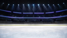 Empty Ice Rink Arena Indoor View Illuminated By Spotlights, Hockey And Skating Stadium Indoor 3D Render Illustration Background, My Own Design.