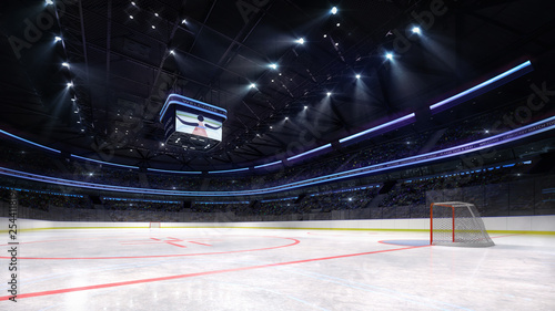 empty ice hockey arena inside playground view illuminated by spotlights, hockey and skating stadium indoor 3D render illustration background, my own design Canvas Print