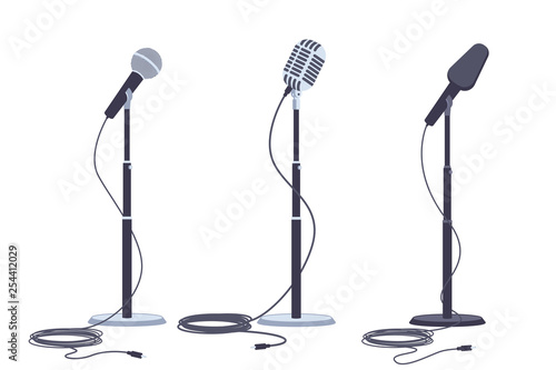 Microphones on stand vector flat set of modern and retro music audio equipment isolated on white background Fototapete