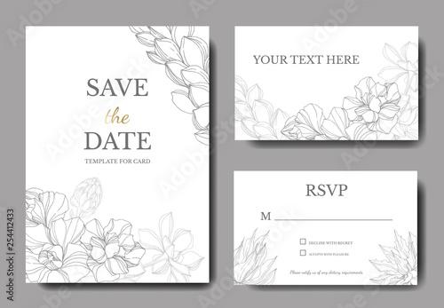 Fototapeta Vector Jungle botanical succulent flower. Engraved ink art illustration. Wedding background card decorative border. obraz