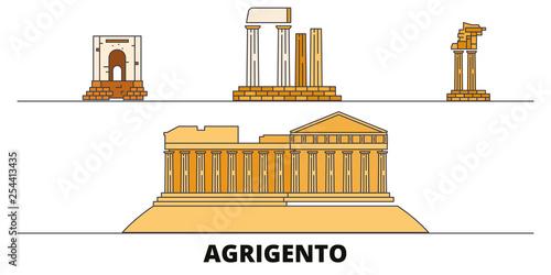Italy, Agrigento  flat landmarks vector illustration Wallpaper Mural