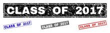 Grunge CLASS OF 2017 Rectangle Stamp Seals Isolated On A White Background. Rectangular Seals With Grunge Texture In Red, Blue, Black And Gray Colors.