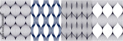 Poster Artificiel Seamless geometric patterns set. Geometric simple fashion fabric prints. Vector repeating tile textures collection. Wavy curve shapes trendy repeat motif. Single color, black and white.